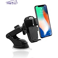 Fabtec Car Mobile Stand Mobile Holder Car Mobile Mount for Windshield and Dashboard Iron Man Silver Black Design with 360° Adjustable Head
