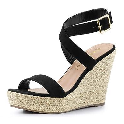 4218076d41c Allegra K Women's Slingback Crisscross Espadrille Wedges Heel Sandals