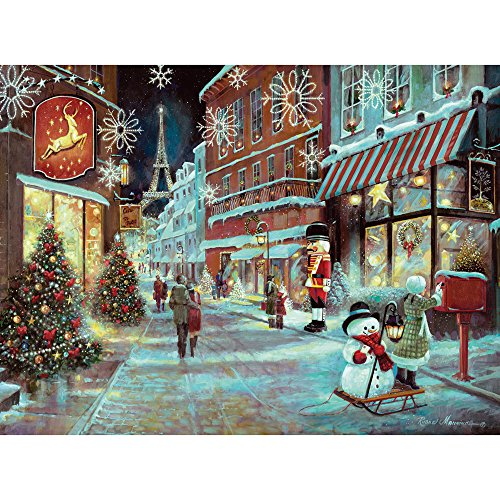 Christmas 1000 Piece Puzzle - Bits and Pieces - 1000 Piece Embellished Glitter Jigsaw Puzzle for Adults - Christmas in Paris - 1000 pc Holiday, Eifel Tower Jigsaw by Artist Ruane Manning