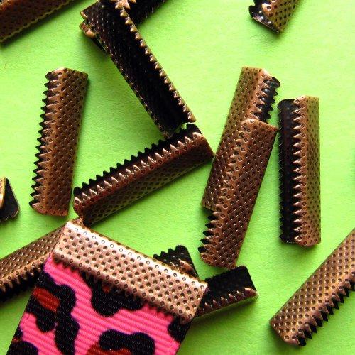 22mm or 7/8 inch No Loop Ribbon Clamp Crimps -- Antique Copper