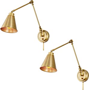 """Kira Home Ellis 18"""" Vintage Industrial Swing Arm Wall Lamp - Plug in/Wall Mount + Cord Covers, Warm Brass Finish, 2-Pack"""