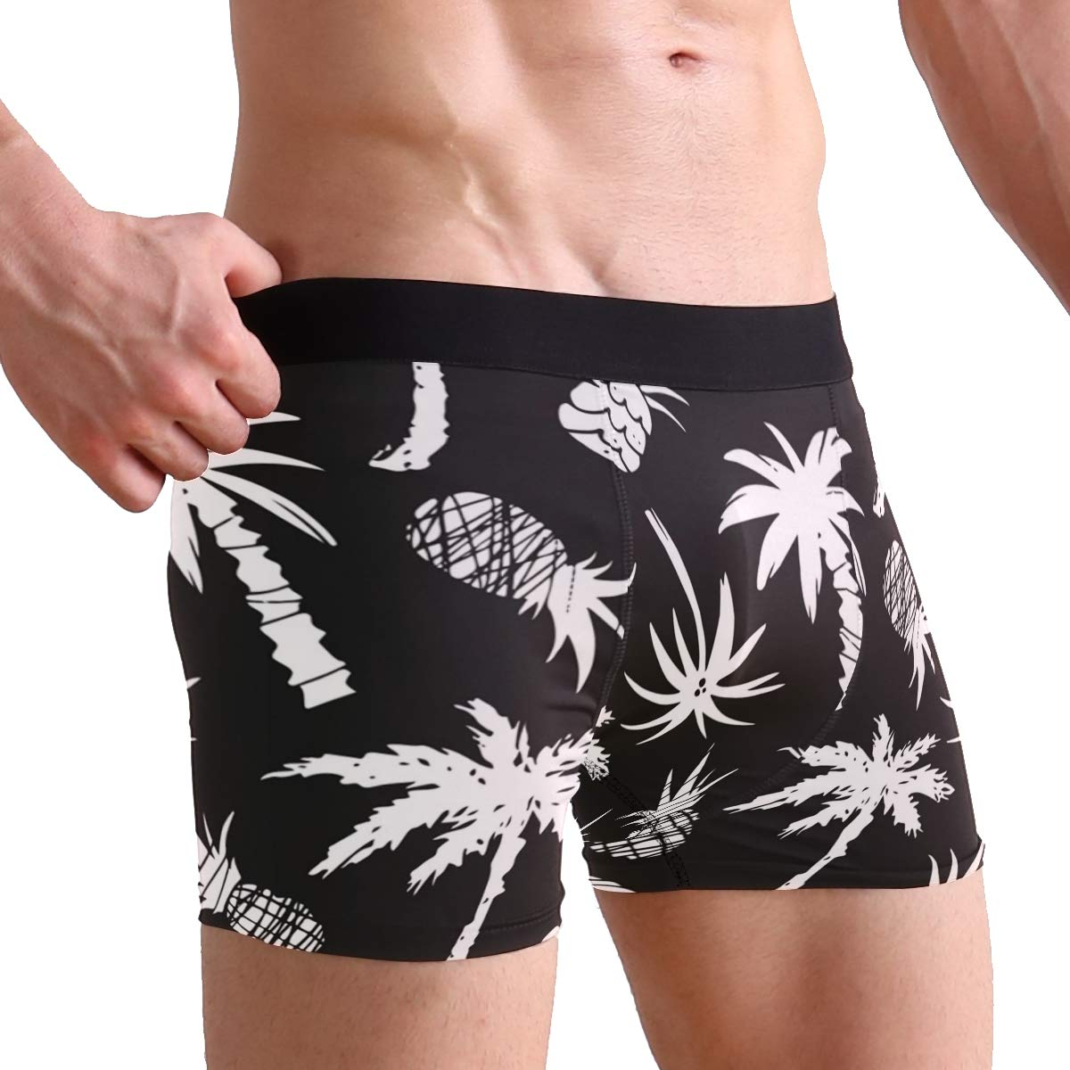 CATSDER Coconut Palm Tree Pineapple Fruit Black Boxer Briefs Mens Underwear Pack Seamless Comfort Soft