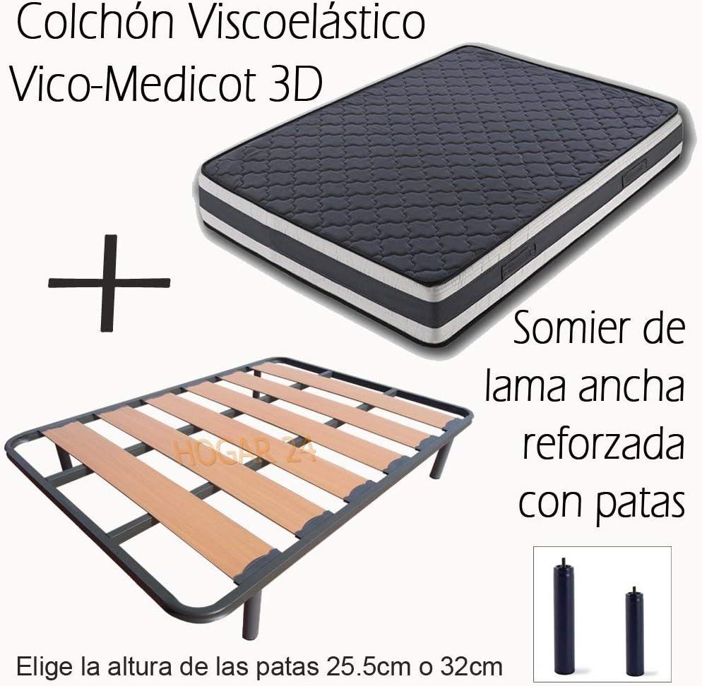 Hogar 24 Colchón Viscoelástico Visco-Medicot 3D + Somier Lama Ancha Reforzado con Tacos Anti-Ruido y 4 Patas De 26Cm, 120x180cm