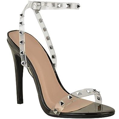 Fashion Thirsty Damen High Heels mit Stiletto-Absatz - Perspex-Riemen mit Nieten