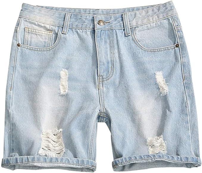 Pantalones Vaqueros Cortos de Hombres algodón Rotos Rectos