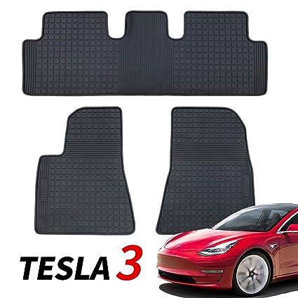 BMZX Juego de Alfombrillas de Goma para Tesla Model 3 – Protección de Suelo para Todo Tipo de climas