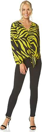 Roman Originals Blusa de jacquard para mujer con lazo frontal, para el día de la noche, fiesta, leopardo, cebra, cuello en V, manga 3/4, para verano, ligero, sedoso, suave, de moda, tops
