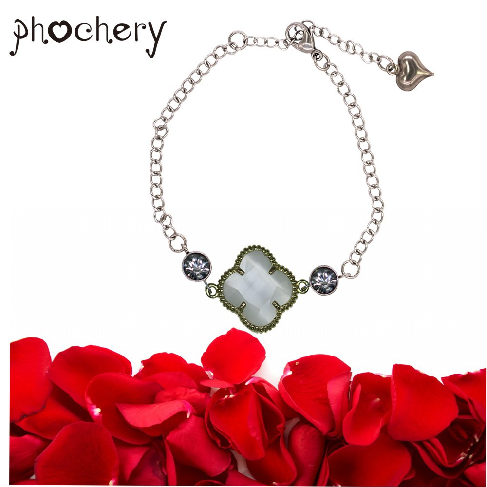 Phochery Four Leaf Clover Bracelet Crystal Charm Bangle 9 Inches Adjustable Stainless Steel Anklet Bracelet Jewelry Gift for Women Girls Sister Friend