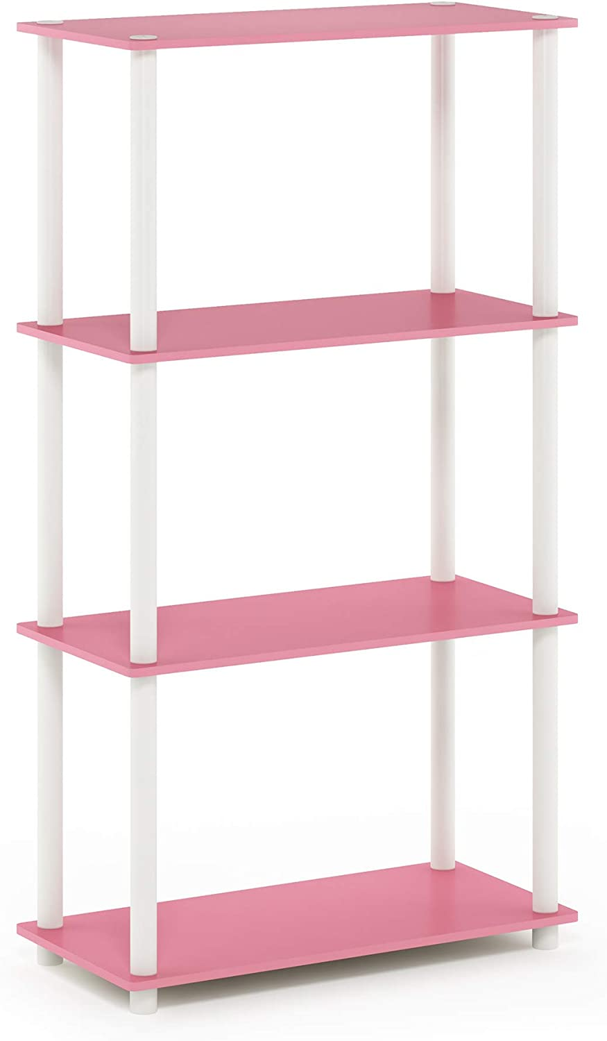 Furinno Turn-N-Tube 4-Tier Multipurpose Shelf Display Rack, Single, Pink/White