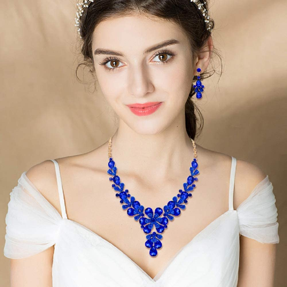 EVER FAITH Gioielli Donna, Cristallo Matrimonio Floreale Fiore Goccia Y-Forma Collana Orecchini Set Blu Oro-fondo