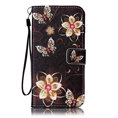 Case Film Pu Leather Wallet With Credit Card Slot Fits Apple Iphone 5 5S Se 5C Purse Clutch Pouch With Tray Flower Butterfly