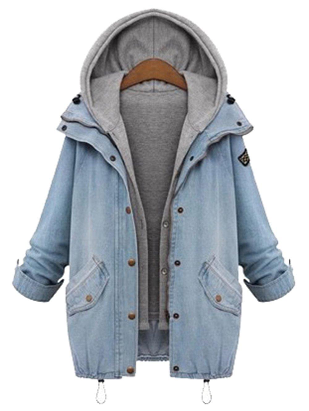 Milumia Women's Hooded Drawstring Boyfriend Trends Jean Swish Pockets Two Piece Coat Jacket Medium Blue by Milumia