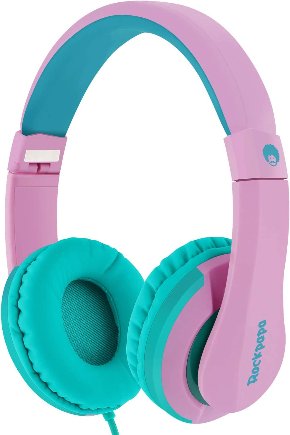 ROCKPAPA I22 Foldable Adjustable On Ear Headphones with Microphone for Kids/Adults iPhone iPad iPod Tablets MP3/4 DVD Computer Pink Green