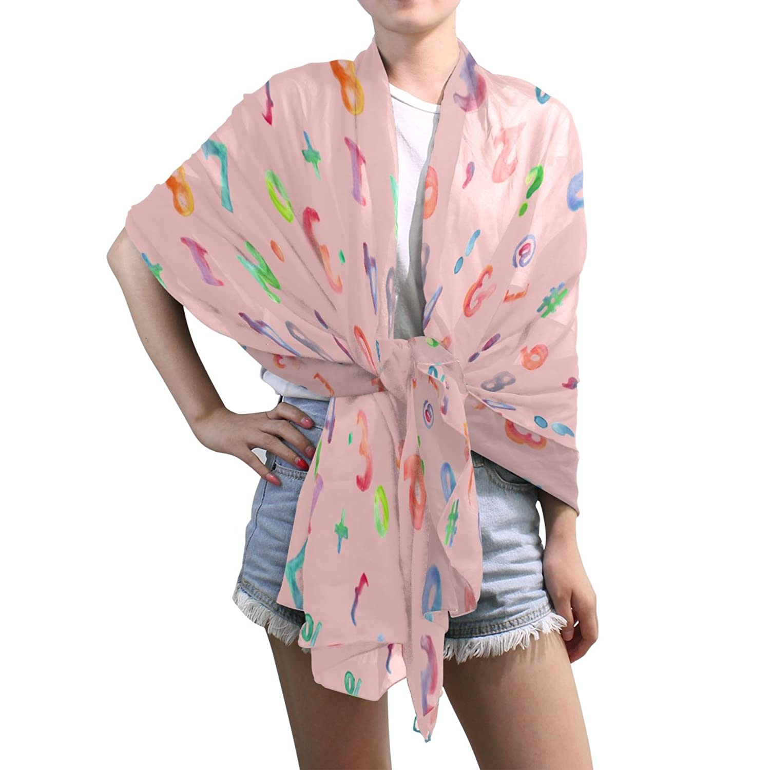 Shawl Wrap Sheer Scarves,Letter,Oblong Chiffon Scarf
