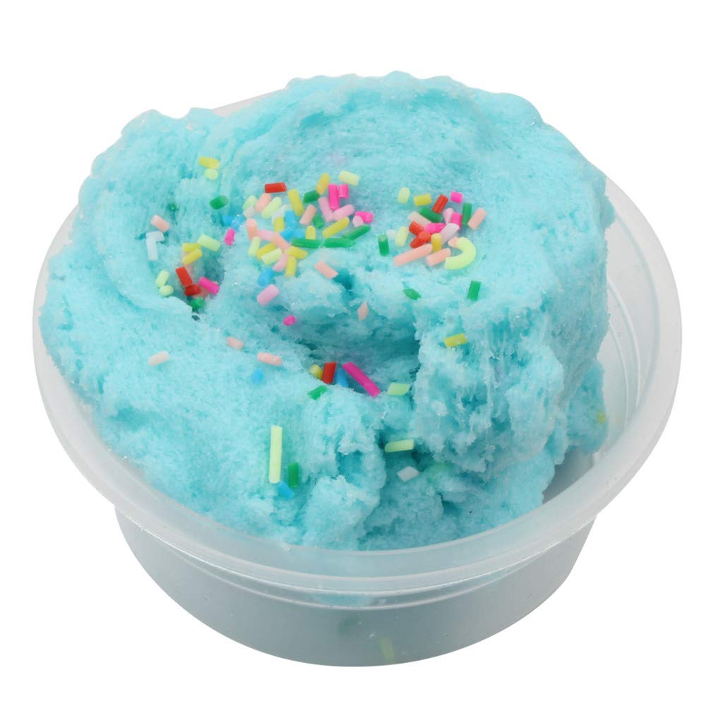 Stress Reliver Toy Strong Toughness Interesting Colorful Mixing Cloud Cotton Candy Slime Squishy Scented Kids Clay Toy,Exercise The Kids' Coordination Ability with Hands (Sky Blue)