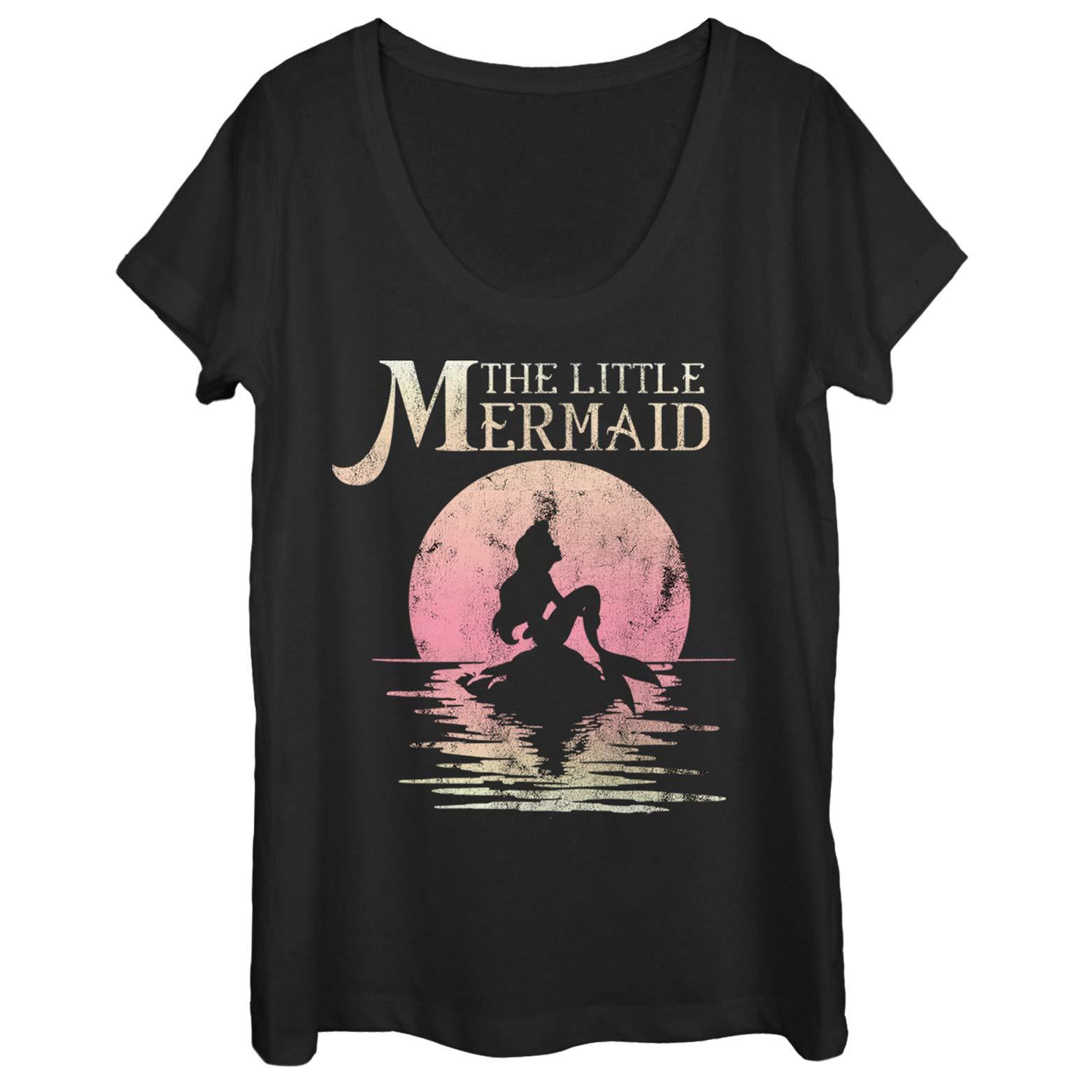 Fifth Sun The Little Mermaid Women's Ariel Sunset Black Scoop Neck T-Shirt