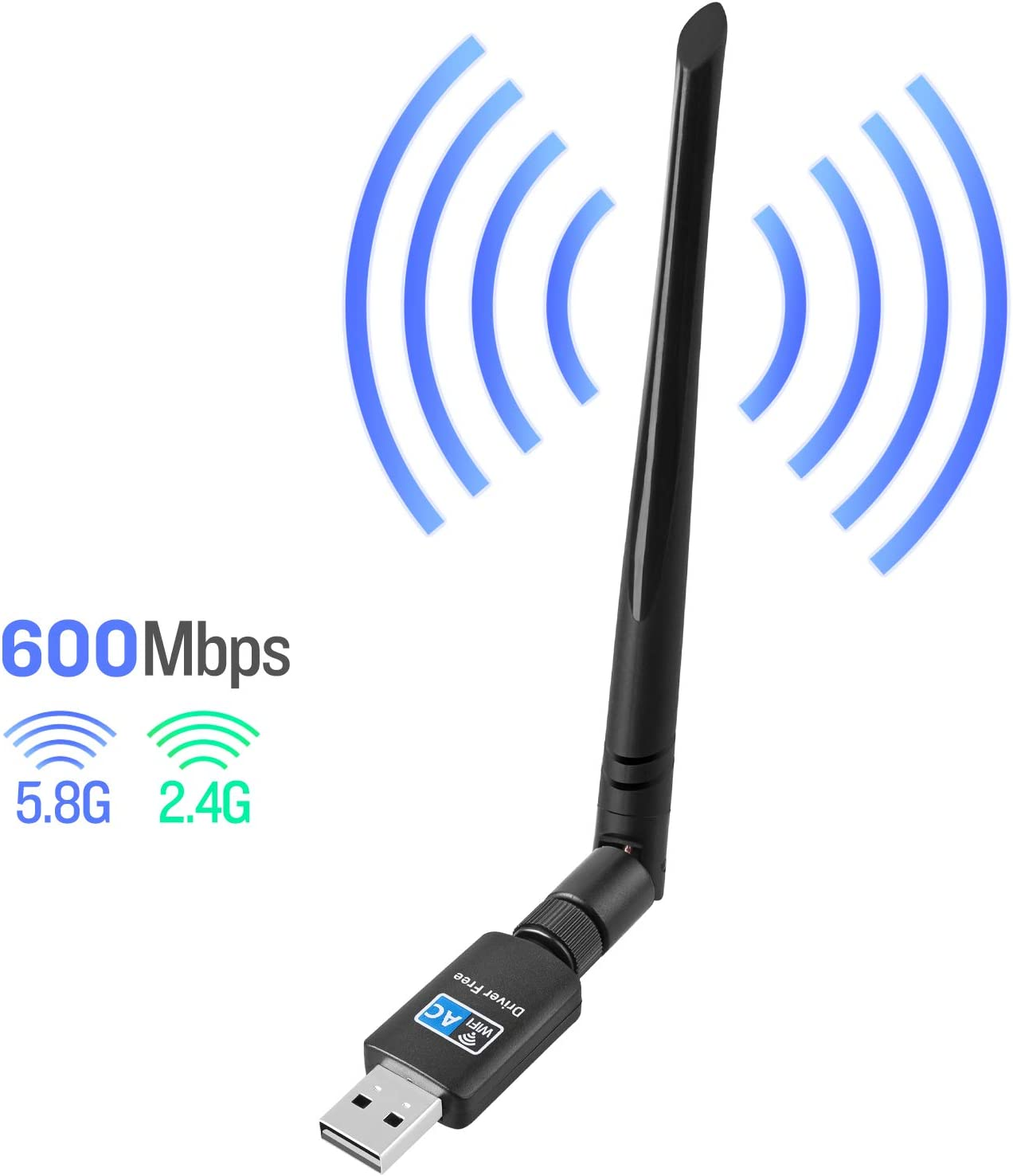 WiFi Adapter for PC 600Mbps,802.11ac USB Wireless Network Adapter with Dual Band 2.4GHz/5.8GHz 5dBi High Gain Antenna for Desktop Compatible with Windows 10/8/7/Vista/XP Mac OS