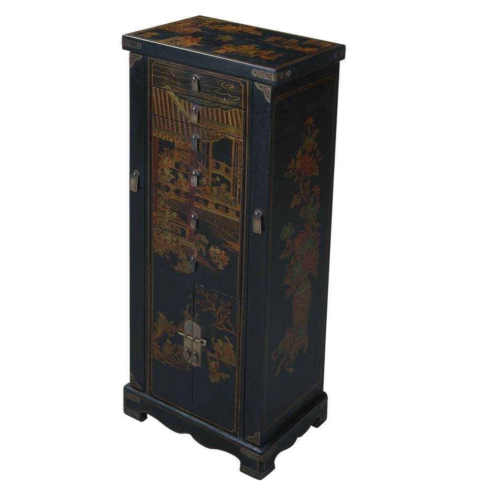 EXP Handmade Oriental Accent 51-Inch Antique Style Black Leather Oriental Jewelry Armoire/Cabinet
