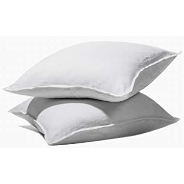 meadow park Stone Washed French Linen European Pillow Shams, Set of 2 Pieces, 26  x 26  Square Euro Sham, Super Soft, Basic Style, White Color