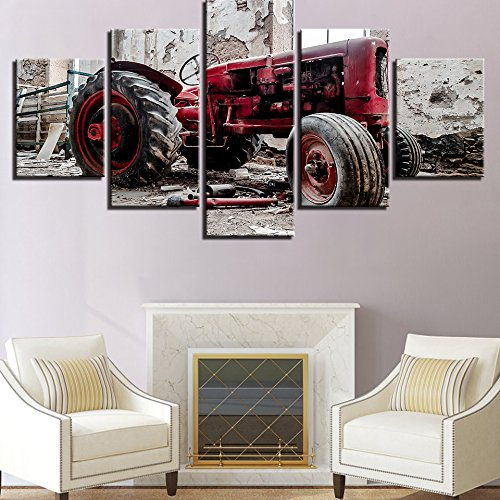 [Medium] Quality Canvas ed Wall Art Poster 5 Pieces / 5 Pannel Wall Decor Retro Car Painting, Home Decor Pictures - With Wooden Frame