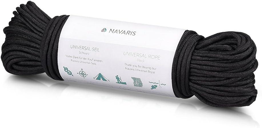 Navaris Cuerda Multiusos de Supervivencia - Cordón Multiusos de 30,5m - Cuerda Resistente para Acampar Pescar - No Apta para Escalar en Negro