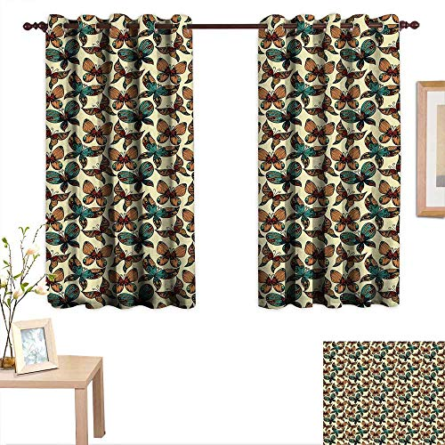 Luckyee Vintage Thermal Insulating Blackout Curtain Butterflies Figures with Rich Ornaments Artistic Design Fragility Freedom Beauty 55