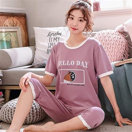 Pijama de mujer Conjunto de pijamas de algodón de dibujos animados ...