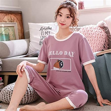 Pijama de mujer Conjunto de pijamas de algodón de dibujos animados de verano Pijamas de mujer