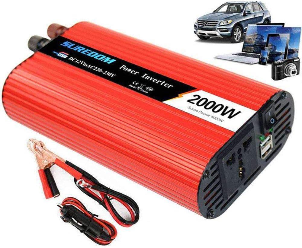 Inversor de Corriente 2000/4000W, Transformador DC 12V 24V A AC 110V 220V, Convertidor Corriente Onda Sinusoidal Pura, 2 Puerto USB,con Pinza y Cable de Encendedor de Cigarrillo Automóvil,24Vto2200V