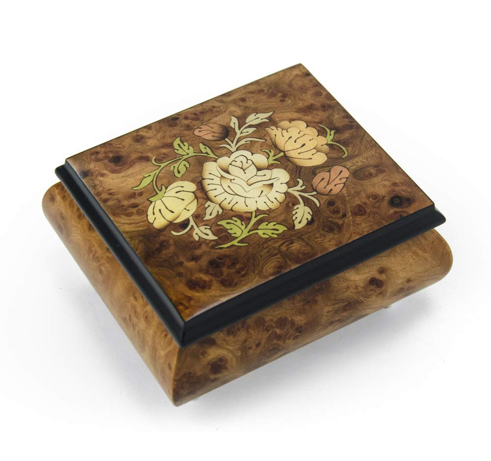 Charming Floral Wood Inlay Finish Musical Jewelry Box - Over 400 Song Choices - Lara's Theme (Drihivago) - SWISS (+$45)