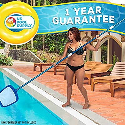 U.S. Pool Supply Professional 12 Foot Blue Anodized Aluminum Telescopic Swimming Pool Pole, Adjustable 3 Piece Expandable Step-Up - Attach Connect Skimmer Nets, Rakes, Brushes, Vacuum Heads with Hoses : Garden & Outdoor
