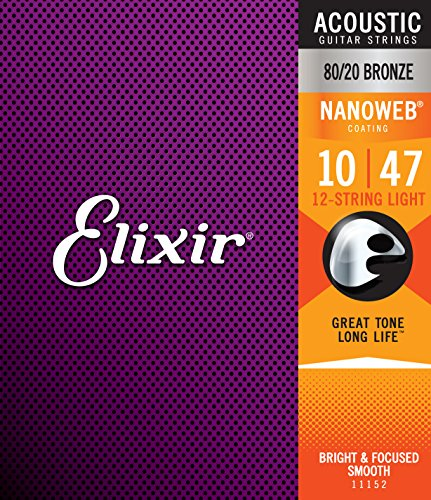 Elixir 80/20 Bronze Nanoweb 12-String Light 11152 10-47 Acoustic Guitar Strings 6-Pack w/Bonus Elixir Polishing Cloth