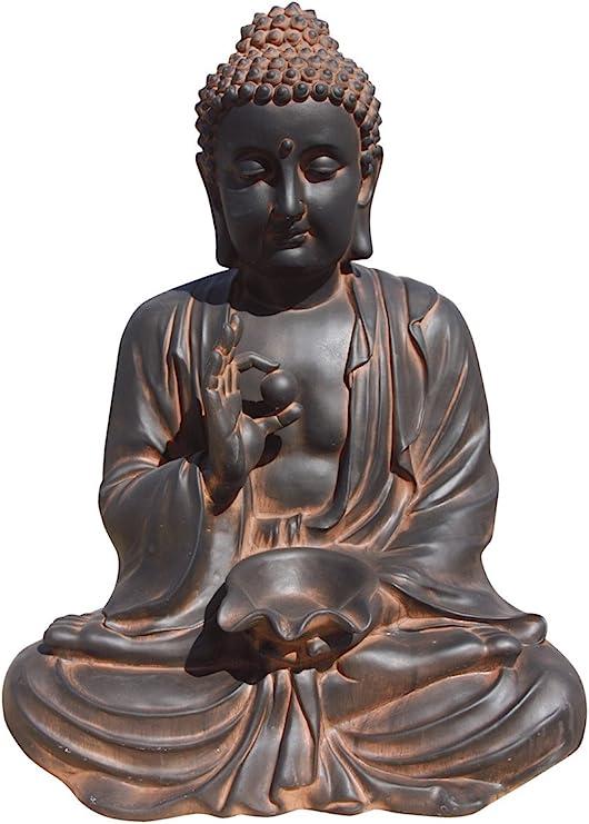 AnaParra Estatua Buda Prosperidad Figura Decorativa para Jardín o Exterior Hecho de Piedra Artificial | Figura Buda 80cm. Color Óxido: Amazon.es: Jardín