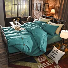 Zhiyuan Button Closure Solid Color Brushed Microfiber Flat Sheet Duvet Cover Pillowcases Set, Queen, Teal