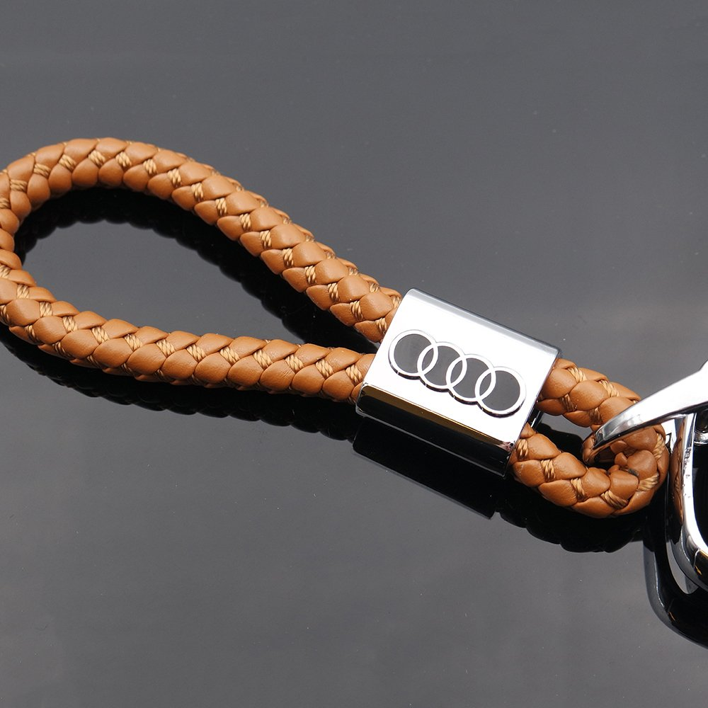 US85 For Audi Logo Emblem Key Chain Key Ring Metal Alloy BV Style Calf Leather Gift Decoration Accessories Brown