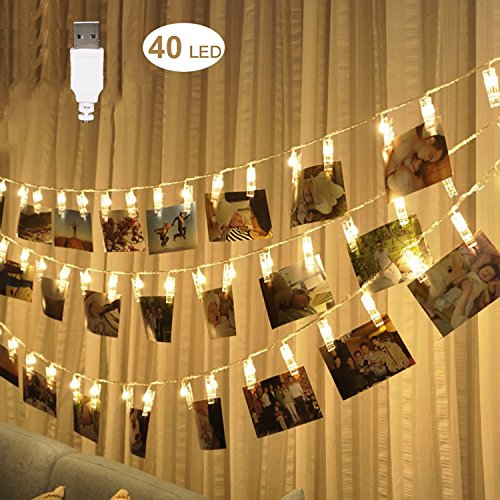Fanme Photo Clip String Lights 40 LEDs 16.4ft Picture Card Display Strand Lights for Home Wedding Party Décor Warm White (USB - Shopping Plains Center White