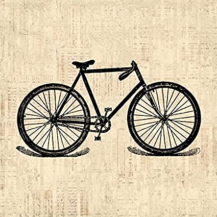 Amazon.com: Vintage Bike Print Antique Bicycle Illustration Cycling ...