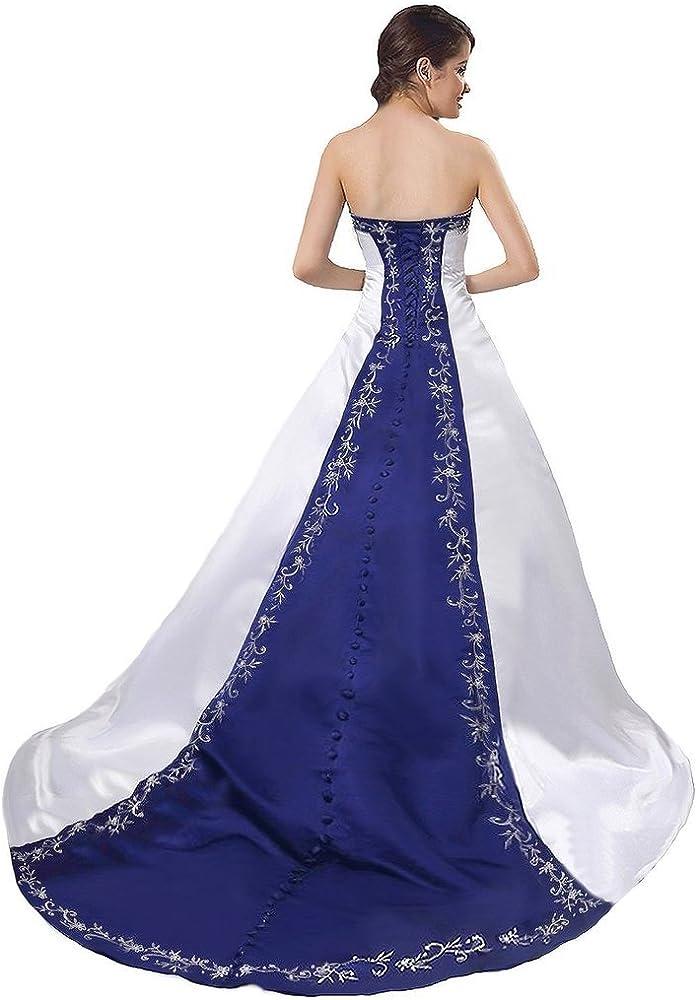 HaoSiJie Womens Embroidery Satin Strapless Wedding Dress Bride Gown