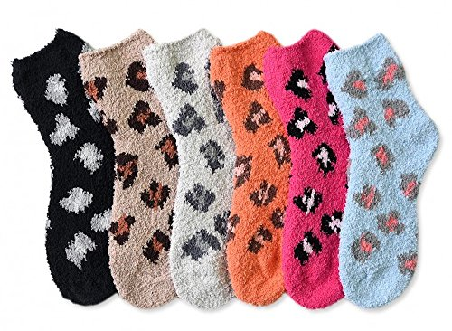 Mamia 6 Pairs Women's Cozy Slipper Socks Fuzzy Sock Multi Color ()
