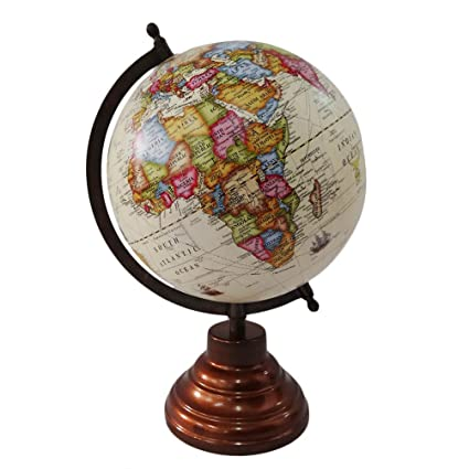 Buy decorative globe with brown frame world map 13 tall standing decorative globe with brown frame world map 13 tall standing beige ball 8 plastic gumiabroncs Gallery