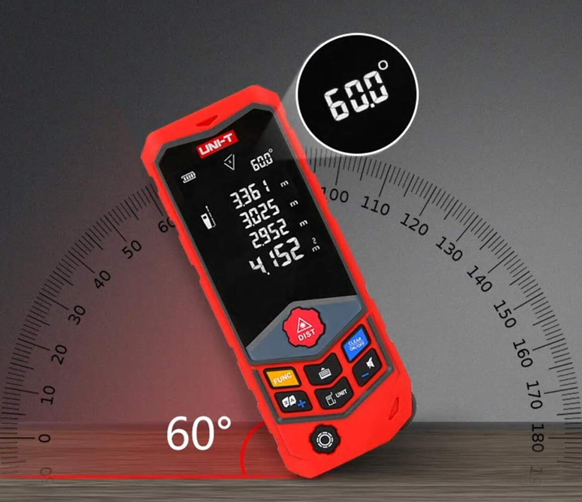 ElephantNum UNI-T Laser Distance Measurer with 262ft, Wheel Measurer, Real-time Voice Broadcast (Grey Pro 80m)