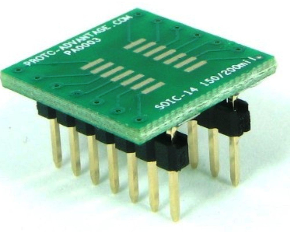 Proto Advantage Soic 14 To Dip Smt Adapter 127 Mm Pitch 150 Small Outline Integrated Circuit And Sop 200 Mil Body Industrial Scientific
