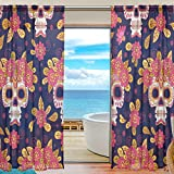 SEULIFE Window Sheer Curtain, Mexican Halloween Skull Flowers Voile Curtain Drapes for Door Kitchen Living Room Bedroom 55x78 inches 2 Panels