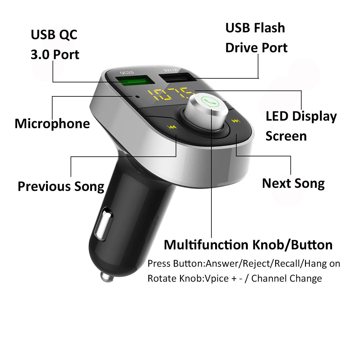 Bluetooth FM Transmitter for Car Silver QC3.0 USB Fast Charging,Handsfree Call Adapter,Support USB Flash Reader Car Kit,Dual Port Car Charger for iPhone,Samsung