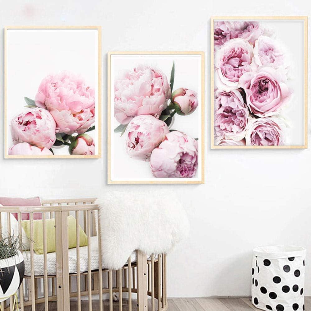 DFSDG Flower Poster Botanical Prints Peony Wall Art Pastel Pink Flowers Peonies Floral Rose Minimalist Fashion Instant Botanical-40x60cmx3 Pcs Unframed