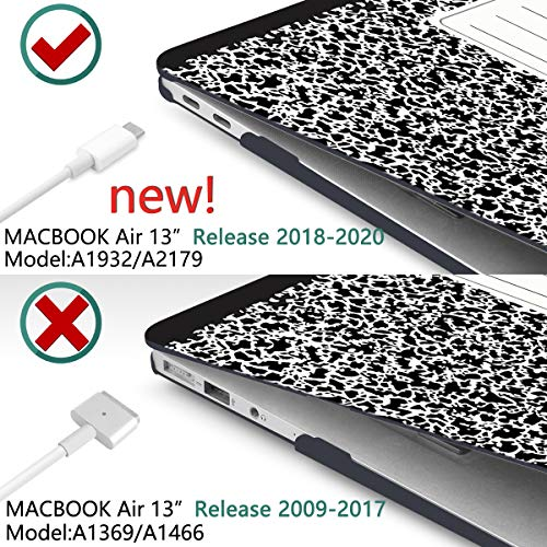 Dongke MacBook Air 13 Inch Case 2019 2018 Release New Version A1932, Soft Touch Hard Case Shell Cover for Apple MacBook Air 13 Retina with Touch ID with Keyboard Cover + Screen Film - Composition Book