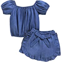 Baby Girl's Denim Clothes Set Denim Puff Sleeve Halter Top Ruffle Bow Shorts Summer Outfits