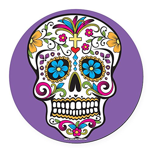 CafePress - Sugar Skull Halloween Purple Round Car Magnet - Round Car Magnet, Magnetic Bumper Sticker (Halloween Sports Pranks)
