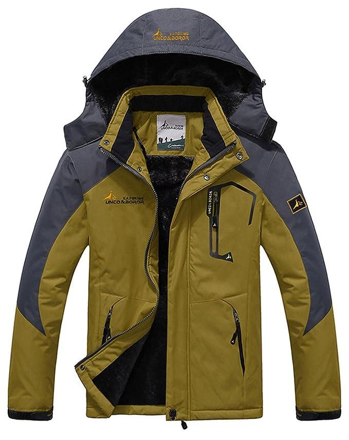 HENGJIA Mens Fleece Outerwear Jackets Outdoor Waterproof Coat Athletic Shell Hooded