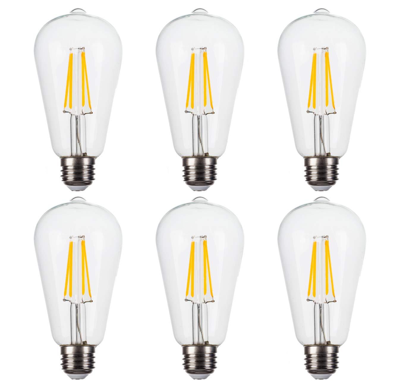 FLSNT LEDヴィンテージエジソン電球 クリア DSST2140FIL-C27-6  Clear Glass B07KPSGSLF